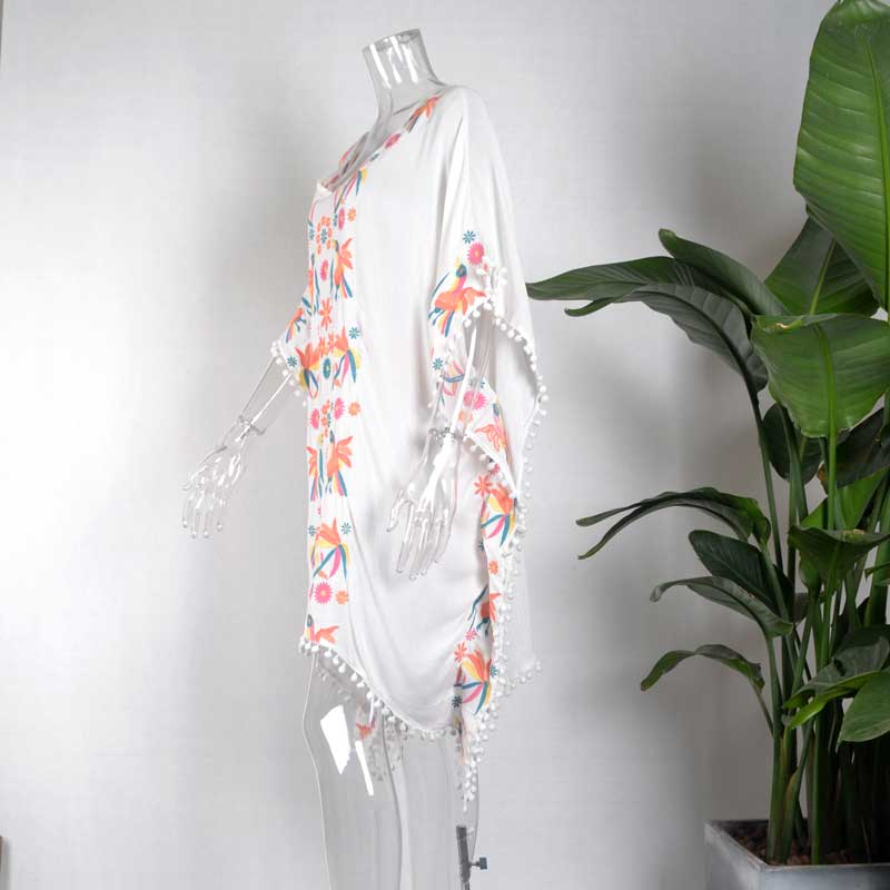 22a98723d31b BOHO INSPIRED Embroidered white caftan beach dress Pom-poms trim batwing  sleeve boho style summer