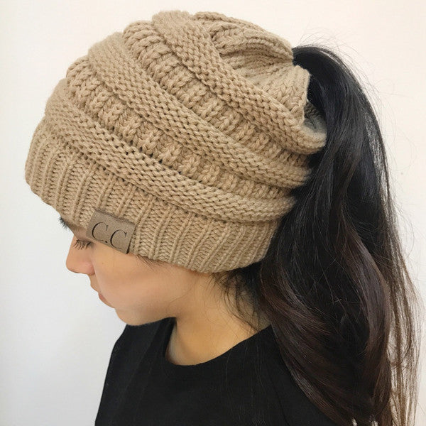Women CC Ponytail Caps CC Knitted Beanie Fashion Girls Winter Warm Hat Back Hole  Pony Tail 66ad41d3073