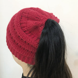 0a80d91b8 Women CC Ponytail Caps CC Knitted Beanie Fashion Girls Winter Warm Hat Back  Hole Pony Tail Autumn Casual Beanies