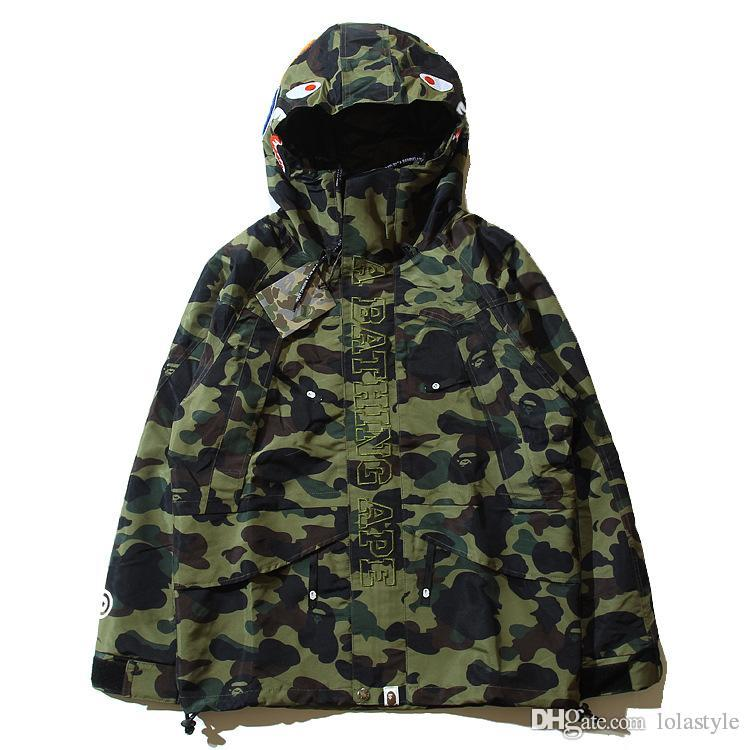 New Style Men's Camouflage Shark Hoodies Sweatshirts Fashion Cardigan Leisure Coat Popular Brand Lapel Thin Hoodies Sizes M-2XL