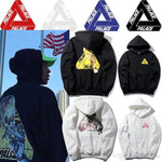17ss PALACE Skateboard Hip Hop Hoodie Men's Sportswear Hoodie Fleece Triangle Mechanical Arm Gold Bronze Skeleton Print Men Pullover
