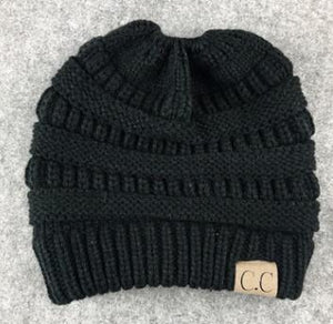 Women CC Ponytail Caps CC Knitted Beanie Fashion Girls Winter Warm Hat Back  Hole Pony Tail 7ed070fb885