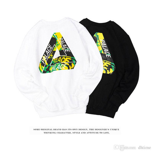 17SS PALACE Black Straw Yellow Camouflage Triangle Skateboard Hoodies Men Cotton Hip Hop Sweatshirt Men Outdoor Sport Hoodies White Hombre