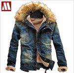 New Winter Men Clothing Jeans Coat Men Outwear With Fur Collar Wool Denim Jacket Thick Clothes