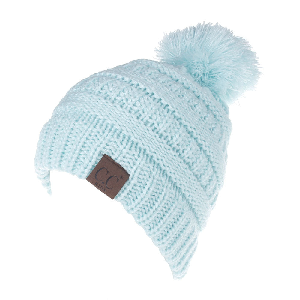 Letter CC Beanies Winter Knitted Hat with Pom Pom Kids Warm Beanies Cap CC Label Skullies Beanies Girls Warm Caps for Children