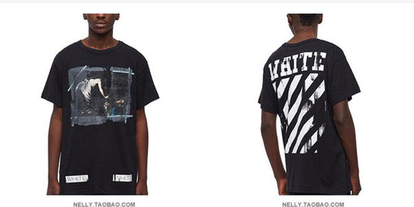 c0cd2d5ee4 OFF White C/o Virgil Abloh New Religion Caravaggio Distressed Short Sleeve  back seam T