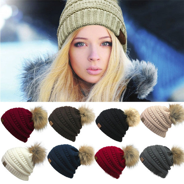 Women's Fashion Knitted Cap Autumn Winter Men Cotton Warm Hat CC Skullies Brand Heavy Hair Ball Twist Beanies Solid Color Hip-Hop Wool Hats
