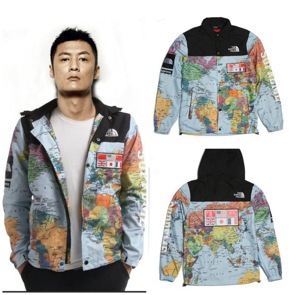 Tide brand SUP 14SS TNFACE MAPS Flag world map Andes men and women hooded windbreaker jacket