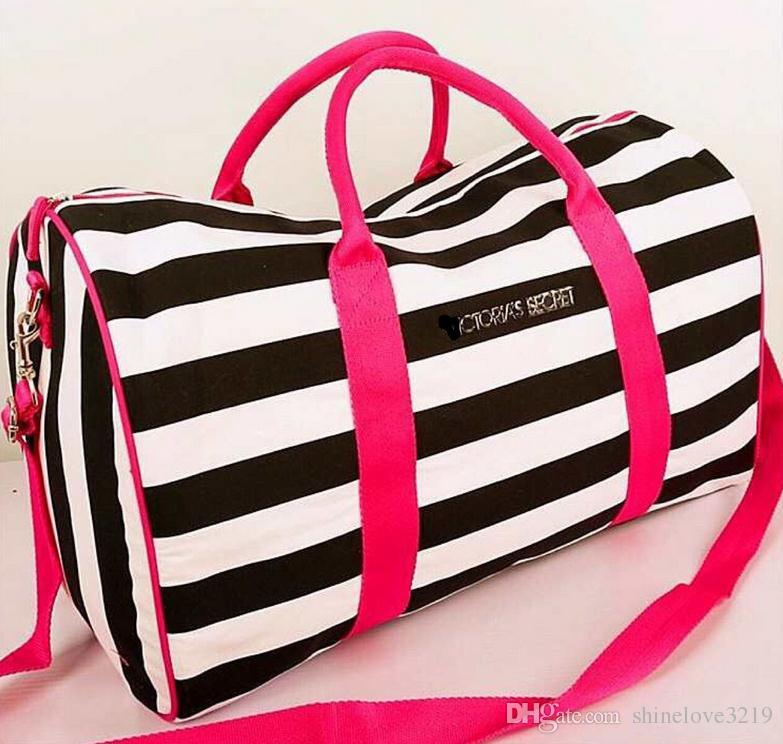 VS canvas large bag fitness bag black and white striped handbag size: long 51 * high 31 * wide 25CM