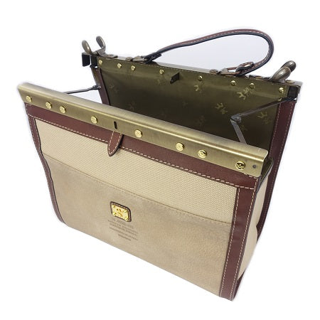 Regina Traditional Tan Leather Briefcase by Carl Laich