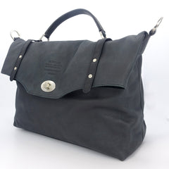 GINEVRA BLACK ITALIAN LEATHER MESSENGER BAG