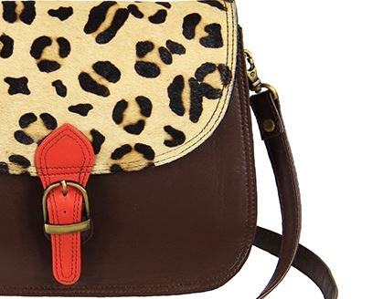 Maya Krishna Leopard Print Large Saddle Bag