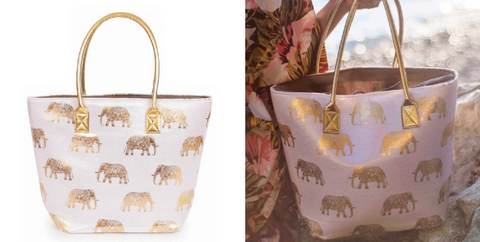 The Elephant Print Beach Bag by Powder is perfect for carrying those must-carry beach essentials. It's interior drawstring design protects your belongings from easy theft and sand.  About this super cute Elephant Print Beach Bag:  Large size. Drawstring top to help keep your belongings safe and sand free. Pink. Designer beach bag. Fabric: External: 70% paper, 30% polyester, Internal: 100% polyester, Filling: 100% PE, Handle: 100% PU. The Designer:  Powder was founded in 2009 by award winning Design Director Lisa Beaumont. Beaumont is passionate about colour, texture and attention detail and this is evident in all of her products. Despite being less than a decade old, Powder has a rapidly growing reputation for creating unique accessories that women love to wear.