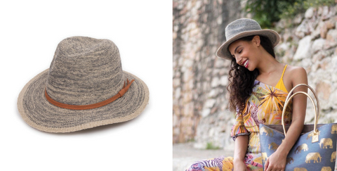 The Natalie Hat by Powder is perfect for packing in your suitcase.This foldable hat is not only practical, but it's also a stylish choice to wear to the beach or pool on holiday this summer!   About this super cute Natalie Hat:  Fedora. Foldable. Available in Stone and Cream/Slate. Designer summer hat. 57cm headsize, 7cm brim. Adjustable size. Fabric: 60% Cotton 40% Polyester. Complimentary hat gift box. The Designer:  Powder was founded in 2009 by award winning Design Director Lisa Beaumont. Beaumont is passionate about colour, texture and attention detail and this is evident in all of her products. Despite being less than a decade old, Powder has a rapidly growing reputation for creating unique accessories that women love to wear.