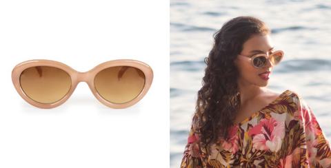 The Audrey Sunglasses by Powder add a touch of classic Hollywood glamour to any outfit. They are the perfect accessory for creating a vintage vibe whilst on holiday this summer!  About these stylish Audrey Sunglasses:  Oval shape. Light brown tinted frames. Stone/Candy colour. Designer sunglasses. 100% Polycarbonate. Ladies sunglasses. Filter category 3: These sunglasses are to BS EN ISO 12312-1:2013 with UV protection.  All our sunglasses come with a beautiful complimentary sunglass cloth, pouch and case. The Designer:  Powder was founded in 2009 by award winning Design Director Lisa Beaumont. Beaumont is passionate about colour, texture and attention detail and this is evident in all of her products. Despite being less than a decade old, Powder has a rapidly growing reputation for creating unique accessories that women love to wear.