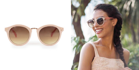 Look regal this summer with the Meghan Sunglasses by Powder, these sunglasses are fit for a princesses and will suit oval, heart and square shaped faces.  About these regal Meghan Sunglasses:  Round style, the most wearable shape in the collection. Light brown tinted frames. Stone/Candy colour. Designer sunglasses. 90% Polycarbonate, 10% Copper. Ladies sunglasses. Filter category 3: These sunglasses are to BS EN ISO 12312-1:2013 with UV protection.  All our sunglasses come with a beautiful complimentary sunglass cloth, pouch and case. The Designer:  Powder was founded in 2009 by award winning Design Director Lisa Beaumont. Beaumont is passionate about colour, texture and attention detail and this is evident in all of her products. Despite being less than a decade old, Powder has a rapidly growing reputation for creating unique accessories that women love to wear.