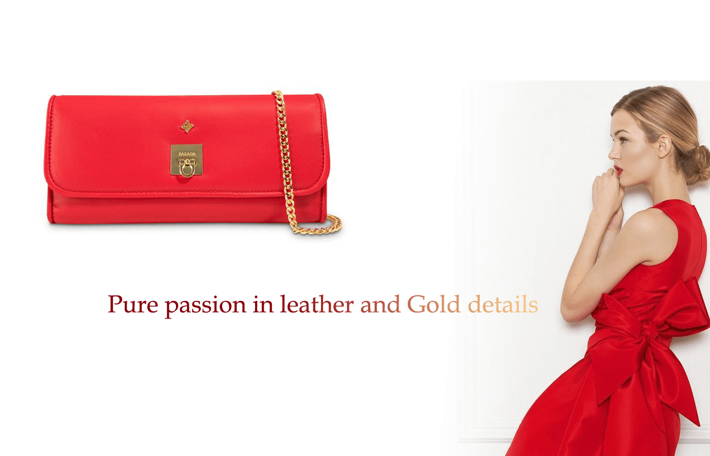 red designer clutch