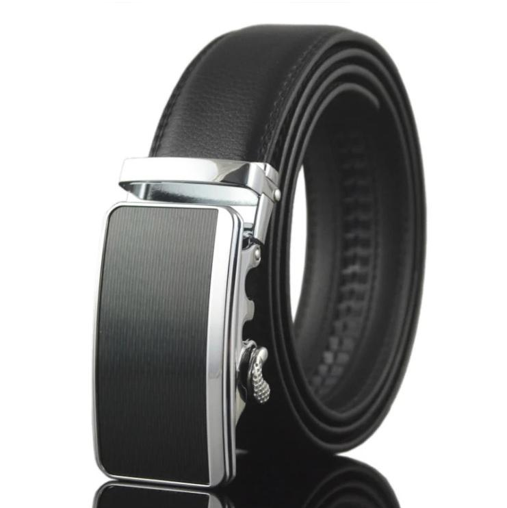 Amedeo Exclusive Men's Black Belt Silver Black Matte Buckle Leather - Amedeo Exclusive