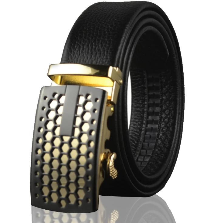 Amedeo Exclusive Men's Black Belt Black Gold Buckle Standard Leather - Amedeo Exclusive