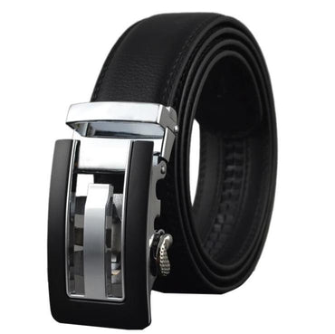 Amedeo Exclusive Men's Black Belt Matte Silver Buckle Leather