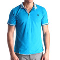Men's Blue - Paisley Turkey Slim Fit Mesh Polo Shirt ( Size - Only XS ) - Amedeo Exclusive