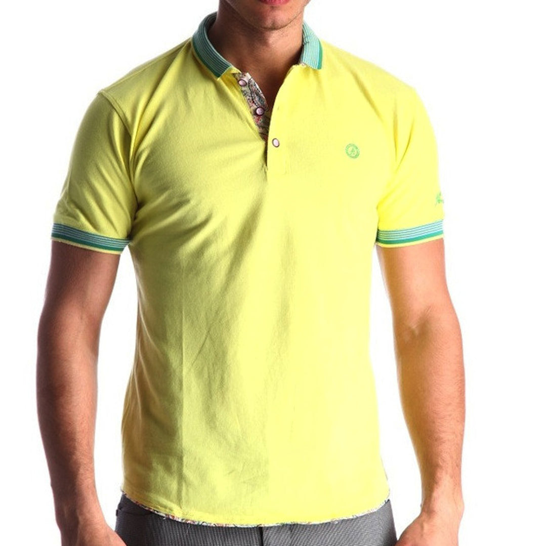 Men's Yellow - Paisley Turkey Slim Fit Mesh Polo Shirt ( Size - Only XS )