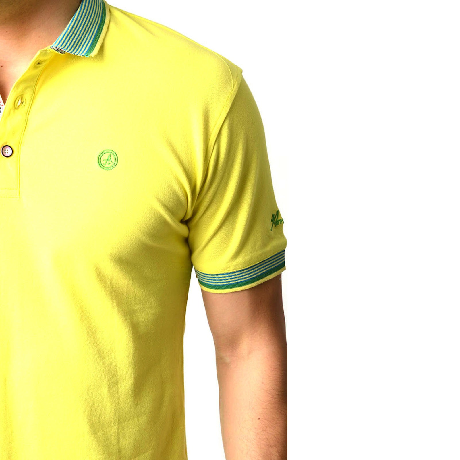 Men's Yellow - Paisley Turkey Slim Fit Mesh Polo Shirt ( Size - Only XS ) - Amedeo Exclusive