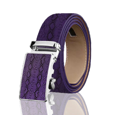 Men's Genuine Leather Smart Ratchet Automatic Belt Perfect Fit No holes! Purple