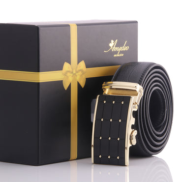 Amedeo Exclusive Men's Black Belt - Gold Studs Buckle Leather Automatic Belts