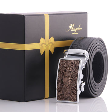 Amedeo Exclusive Men's Stainless Black & Brown Dragon Leather Belts
