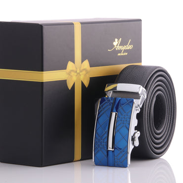 Amedeo Exclusive Men's Adjustable Stainless Black & Blue Leather Belts
