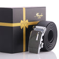 Amedeo Exclusive Men's Stainless Black & Glitter Silver Leather Belts