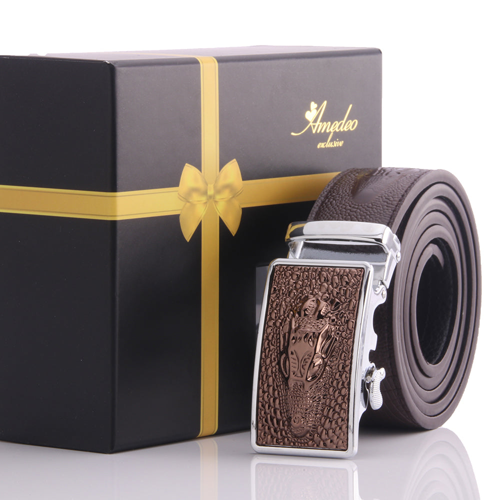Amedeo Exclusive Men's Adjustable Stainless Brown Dragon Leather Belts