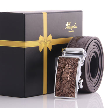 Amedeo Exclusive Men Brown Belt - Brown Dragon Buckle Leather