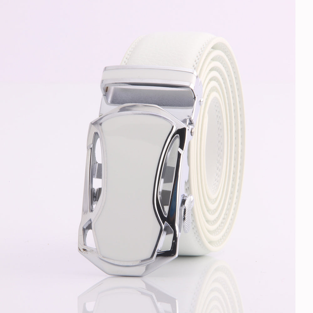 Men's Adjustable Stainles Steel White Leather Belts