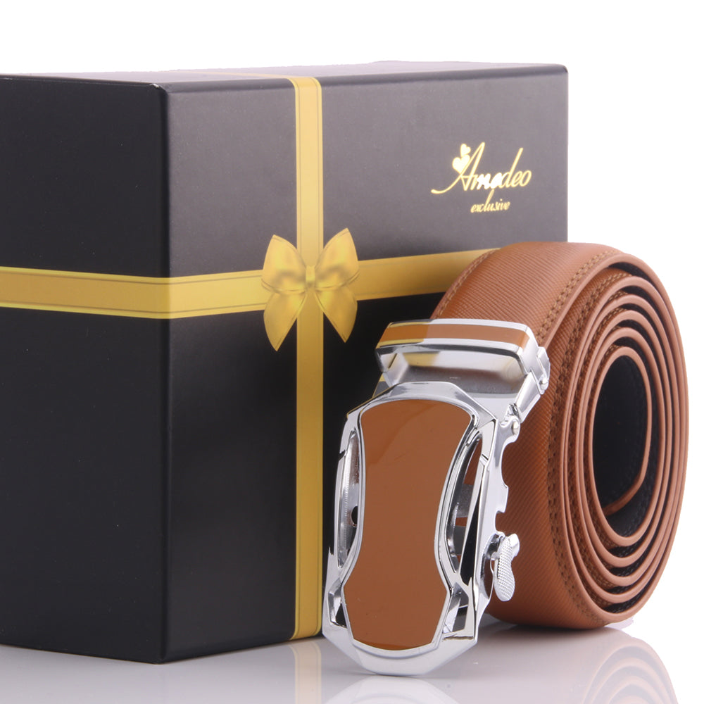 Amedeo Exclusive Men's Adjustable Stainless Steel Tan Leather Belts