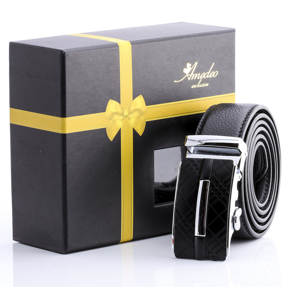 Men's Smart Ratchet No Holes Automatic Buckle Belt in Silver & Black Color - Amedeo Exclusive