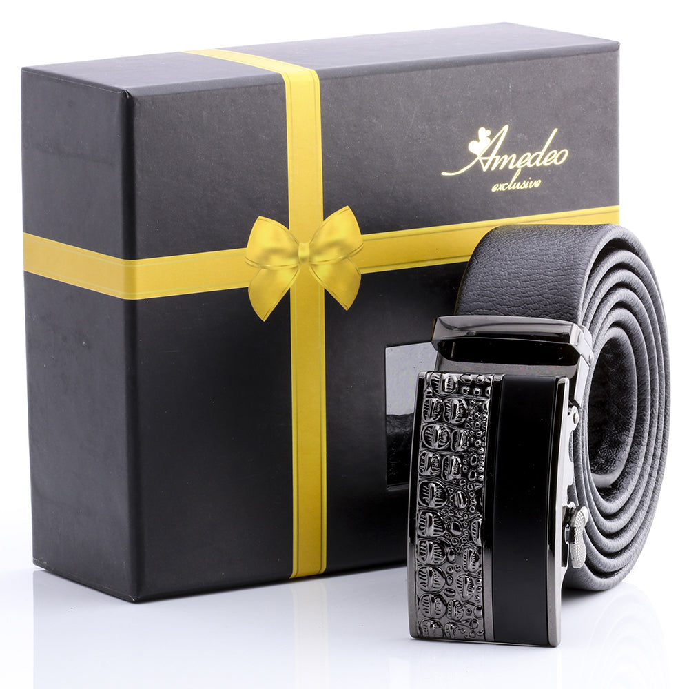 Men's Smart Ratchet No Holes Automatic Buckle Belt in Silver Shiney Rock & Black Color - Amedeo Exclusive