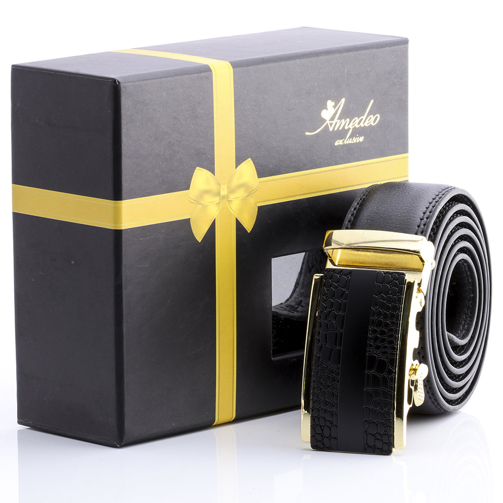 Amedeo Exclusive Stainless Steel Gold & Black Leather Belts For Men's