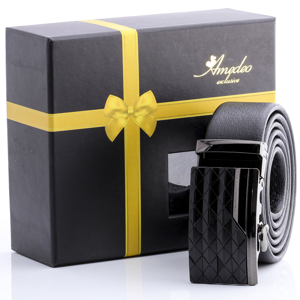 Amedeo Exclusive Men's Adjustable Stainless Steel Black Leather Belts
