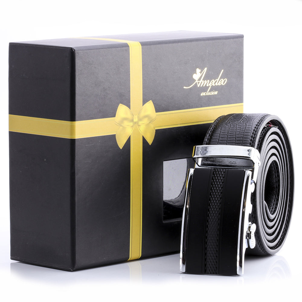 Amedeo Exclusive Stainless Steel Black Leather Belts For Men's Fashion