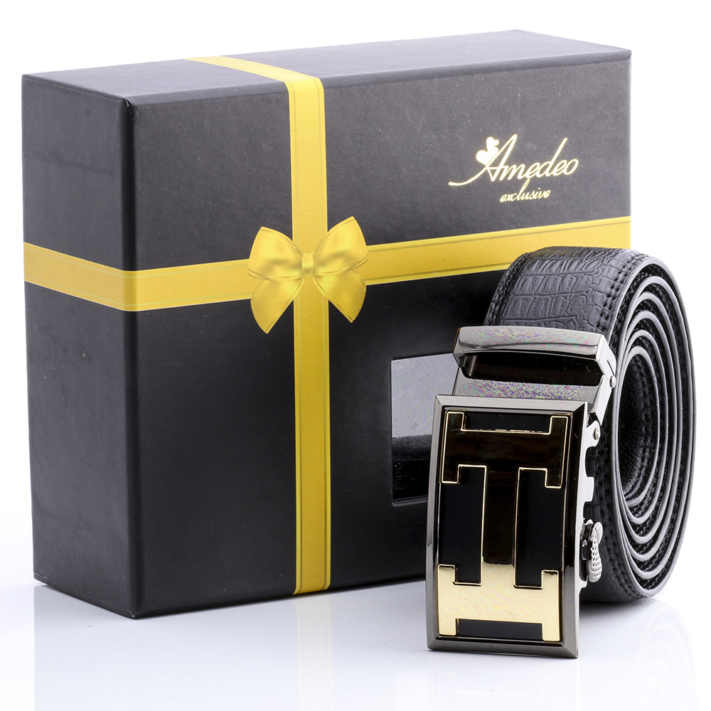 Amedeo Exclusive Men's Fashion Stainless Steel Gold Black Leather Belts