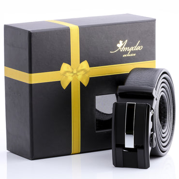 Amedeo Exclusive Men's Fashion Stainless Silver & Black Leather Belts