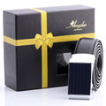 Amedeo Exclusive For Men's Stainless Steel Silver & Blue Leather Belts