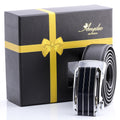 Amedeo Exclusive For Men's Stainless Steel Silver & Black Leather Belts