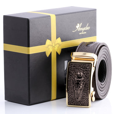 Amedeo Exclusive Men's Stainless Gold & Brown Alligator Leather Belts