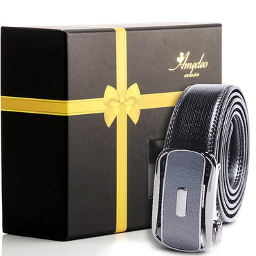 Amedeo Exclusive Black Belt - Silver & Black Buckle Leather