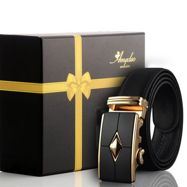 Amedeo Exclusive Black Belt - Gold & Black Buckle Leather