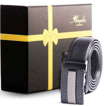 Amedeo Exclusive Men's Stainless Steel Black Belt-Gun Metal Black Buckle