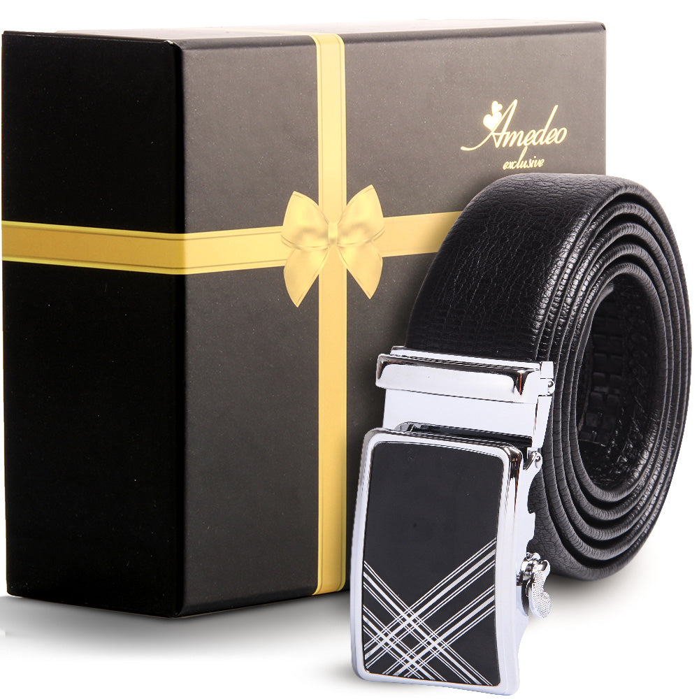 Men's Stainless Steel Black Belt-Silver & Black Buckle